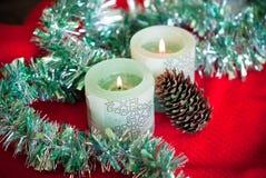 De rode Vlam van Kerstmis van Kaarsen Stock Afbeeldingen