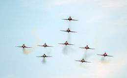 De rode vliegtuigen van Pijlen Stock Afbeelding