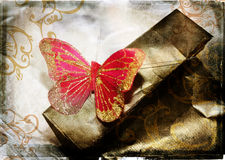 De rode vlinder van Grunge Royalty-vrije Stock Foto's