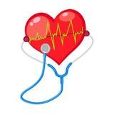 De rode vorm van de hartcontrole met elektrocardiogram Stock Foto's