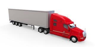 De rode Vrachtwagen van de Aanhangwagen die op Witte Achtergrond wordt geïsoleerd Stock Foto