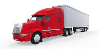 De rode Vrachtwagen van de Aanhangwagen die op Witte Achtergrond wordt geïsoleerde Royalty-vrije Stock Afbeelding