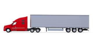 De rode Vrachtwagen van de Aanhangwagen die op Witte Achtergrond wordt geïsoleerdl Stock Foto's