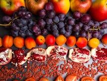 de rode vruchten en berrys de rijke vitamine, resveratrol, astaxanthin anti-oxyderend voedsel, sluiten omhoog stock afbeelding