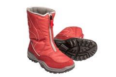 De rode waterdichte laarzen van kinderen Royalty-vrije Stock Foto's