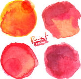 De rode waterverf schilderde vector geplaatste vlekken Royalty-vrije Stock Fotografie