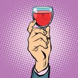 De rode wijnpop-art van het toostglas stock illustratie
