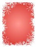 De rode Witte Achtergrond van de Sneeuwvlok Stock Afbeelding