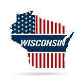De Rode Witte Blauwe Kaart van Wisconsin Royalty-vrije Stock Afbeeldingen