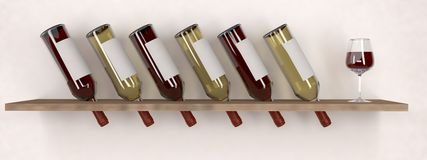 De rode Witte Wijnfles met Glas op schort model op Royalty-vrije Stock Foto's