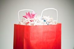 De rode Zak van Kerstmis Stock Afbeeldingen