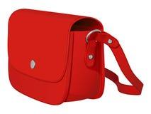 De rode zak van leerdames met lange riem Royalty-vrije Stock Afbeeldingen