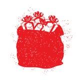 De rode zak van Santa Claus in grungestijl Nevel en krassen Stock Afbeelding