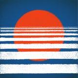 De rode zon en het blauwe overzees, zonsondergang, horizon, vatten geometrische achtergrond samen Vectorillustratie, ontwerpeleme Royalty-vrije Stock Afbeelding