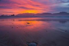 De rode zonsondergang Stock Afbeeldingen