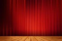 De rode zwarte drapeert bioskoop en houten vloer Royalty-vrije Stock Afbeeldingen