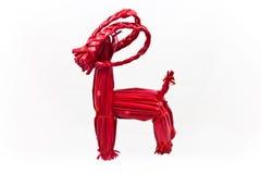 De rode Zweedse Geit van stroYule op een witte achtergrond Royalty-vrije Stock Foto