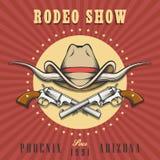 De rodeo toont Embleem met Cowboy Hat en Revolvers royalty-vrije illustratie