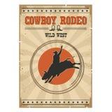 De rodeoaffiche van de cowboy wilde stier Westelijke uitstekende illustratie met