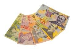 De Roemeense munt van het Leibankbiljet Stock Afbeeldingen