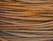 De roestige close-up van de staalkabel Stock Afbeeldingen