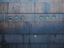 De roestige schil van het staalschip Stock Foto