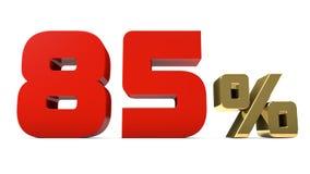 de rojo del 85% el por ciento y texto del oro aislado en 3d blanco rinde Foto de archivo libre de regalías