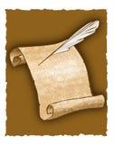 De rol en de ganzepen van het perkament Stock Afbeeldingen