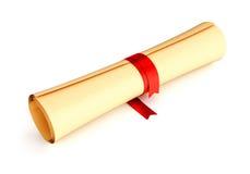 De rol van het document met rood lint Stock Afbeeldingen