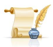 De rol van het document met veerpen en inktpot Royalty-vrije Stock Afbeelding