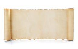 De rol van het perkament die op wit wordt geïsoleerd Stock Foto's