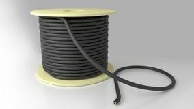 De rol van kabel liep zwarte vast Stock Foto