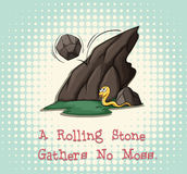 De Rolling steen verzamelt geen mos stock illustratie