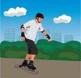 De rolschaatser van de stad Stock Afbeelding
