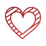 De Romaanse hartstocht van de hartliefde met grafische strepen stock illustratie