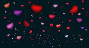 De Romaanse liefdeharten namen bloemblaadjes vage confettien toe royalty-vrije illustratie