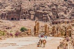 De roman weg van Hadrien Gate in nabatean stad van petra Jordanië royalty-vrije stock foto's