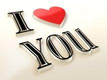 De romantische achtergrond met I houdt van u tekst Stock Afbeelding