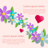 De romantische decoratie van het affichekader met harten, bloemen en kader voor Gelukkige de groetkaart van de Valentijnskaartend Stock Fotografie