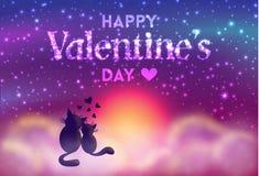 De romantische kaart van de Valentijnskaartendag van leuke katten Royalty-vrije Stock Afbeeldingen