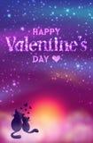 De romantische kaart van de Valentijnskaartendag van leuke katten Royalty-vrije Stock Afbeelding