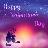 De romantische kaart van de Valentijnskaartendag van leuke katten Royalty-vrije Stock Foto