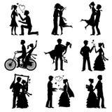 De romantische liefde koppelt vectorsilhouetten voor van het valentijnskaartendag en huwelijk kaart royalty-vrije illustratie