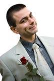 De romantische mens met nam toe Royalty-vrije Stock Foto's