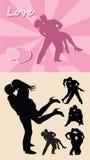 De romantische silhouetten van het liefdepaar Royalty-vrije Stock Foto