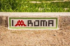 ` De Rome d'amour du ` I écrit avec une mosaïque sur une étape près du cirque maximum à Rome Images stock