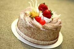 De romige Cake van de Chocolade Royalty-vrije Stock Afbeeldingen