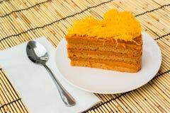 de romige zoete cake van de melkthee Stock Fotografie