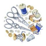 De ronde banner schilderde verschillende antiquiteiten voor het naaien, handwerk en met de hand gemaakt vector illustratie