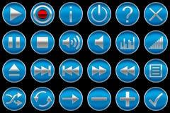 De ronde blauwe pictogrammen of de knopen van het Controlebord Stock Foto's
